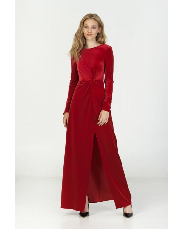 LONG DRESS VELVET WITH KNOT