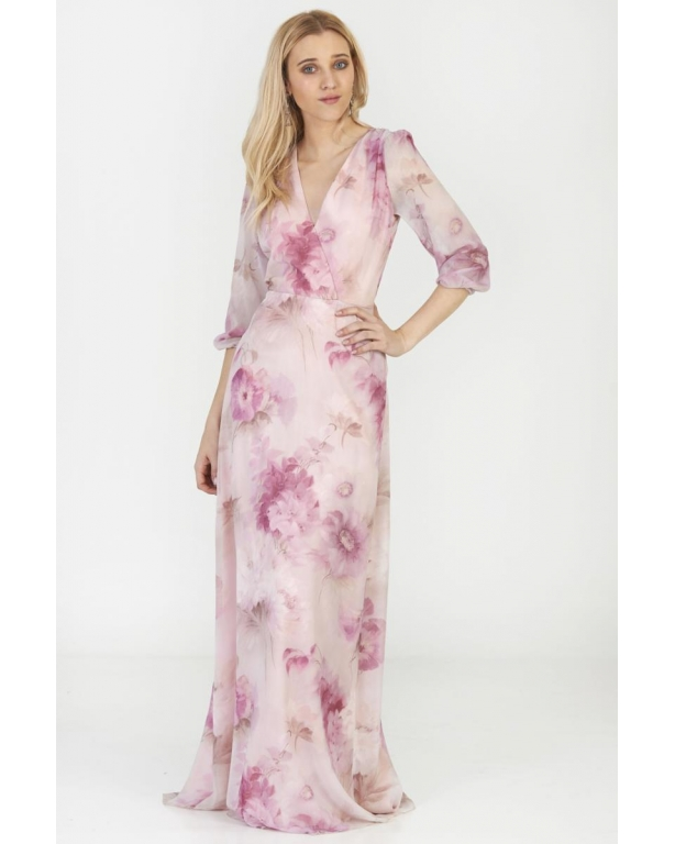 LONG DRESS PRINTED WITH LONG SLEEVE