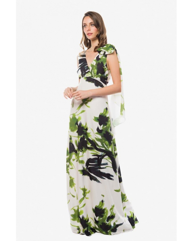 BRUSH STROKES PRINT LONG DRESS